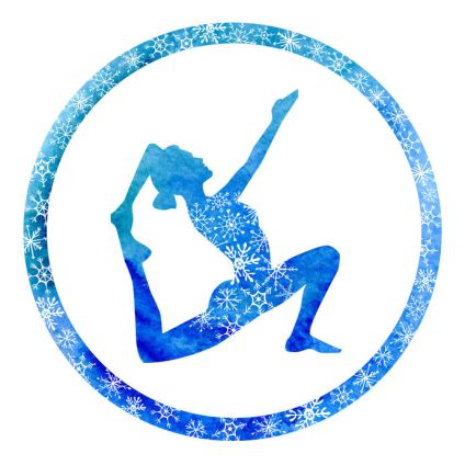 51445104 - vector yoga illustration with female silhouette in circle frame with bright blue watercolor texture and snowy ornament. winter colors and snowflakes decoration.